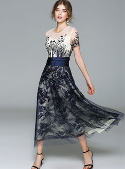 Party Embroidered Gauze O-neck Short Sleeve Maxi Dress