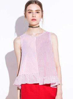 Cotton Plaid Sleeveless Falbala T-shirt
