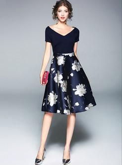 Stylish Floral Print Stitching V-neck Skater Dress