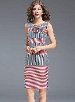 Striped Slim Sleeveless Bodycon Dress