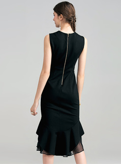Elegant Black Mesh Waist Slim Mermaid Dress