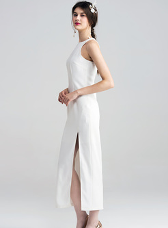 Elegant White Split Sleeveless Maxi Dress