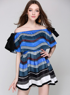 Street Striped Falbala Slash Neck Skater Dress