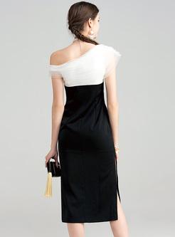Elegant Bowknot Patch Monochrome Bodycon Dress