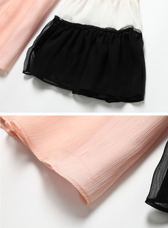 Street Color-blocked Chiffon Blouse