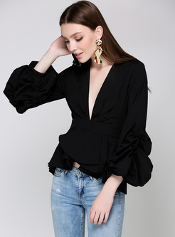 Elegant Falbala Sleeve V-neck Slim Blouse