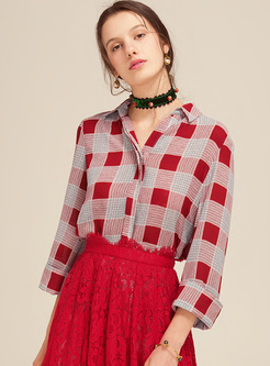 Street Grid Print Lapel Tied Blouse