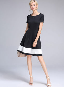 Brief Hit Color Stitching Skater Dress