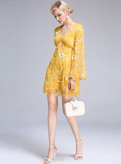 Long sleeve skater dress yellow