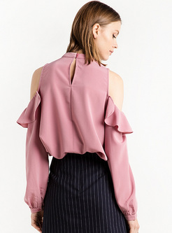 1c673a34037b8 Elegant Falbala Off Shoulder Chiffon Blouse Elegant Falbala Off Shoulder  Chiffon Blouse ...