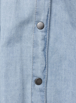 Sexy Single-breasted Split Denim Skirt