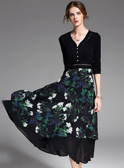 Party Bead Lily Print Half Sleeve V-neck Maxi Dress