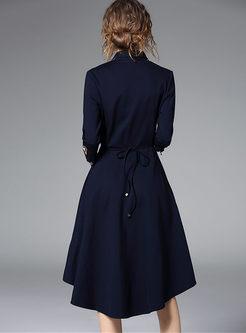 Stitching Slim Asymmetry Hem Skater Dress