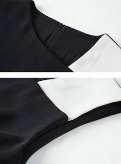 Sexy Black And White Blocking High Waist Bodycon Dress