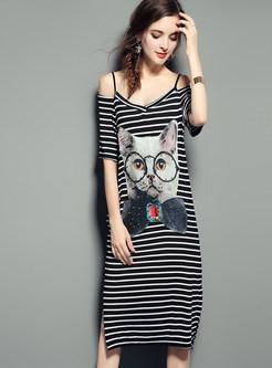 443bc69e0a20 ... Cute Off Shoulder Cat Print Striated Open Fork T-shirt Dress ...