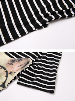 12829c3335a8 ... Cute Off Shoulder Cat Print Striated Open Fork T-shirt Dress