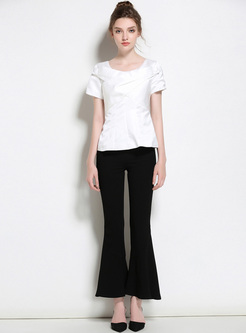 Brief Asymmetric Patch Slim T-shirt