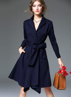 Vintage Slim Gathered Waist Long Sleeve Trench Coat