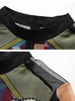 Vintage Print Gauze Splicing Bead Slim Skater Dress