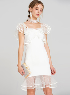 Sexy Dot Patter Falbala Slim Mermaid Dress