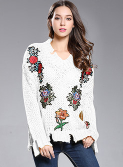 Casual Embroidered V-neck Asymmetrical Loose Sweater