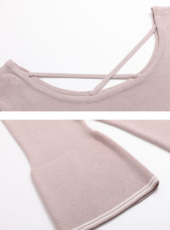 Stylish Pink Flare Sleeve Sweater