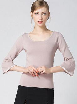 Stylish Pink Flare Sleeve Sweater