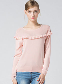 Pink Hollow Out Long Sleeve Knitted Sweater