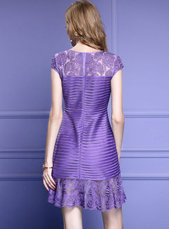 Party Embroidered Lotus Leaf Sleeve Skater Dress