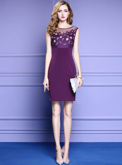 Purple Mesh Embroidered Nail Bead Bodycon Dress