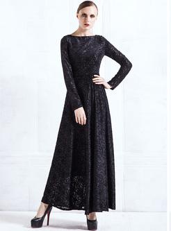 Black Lace Jacquard Big Hem Maxi Dress