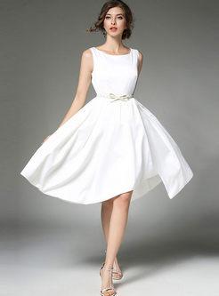 Brief Sleeveless Gathered Waist Asymmetry Hem Skater Dress