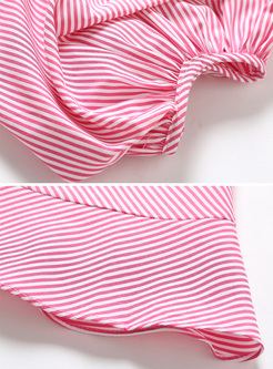 Sweet Puff Sleeve V-neck Bowknot Striped Dress