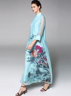 Blue Vintage Print Perspective Loose Maxi Dress