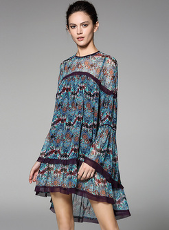 Oversized Floral Print Asymmetric Hem Shift Dress