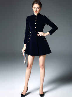Stylish Quilt Velvet Stand Collar Single-breasted Skater Coatdress