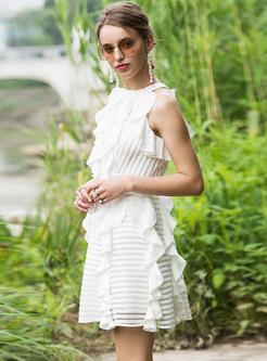 Elegant White Falbala Skater Dress