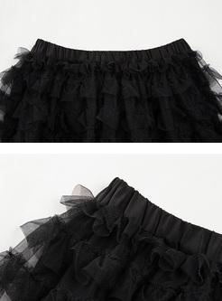 Sexy Perspective Mesh Elastic Waist Skirt