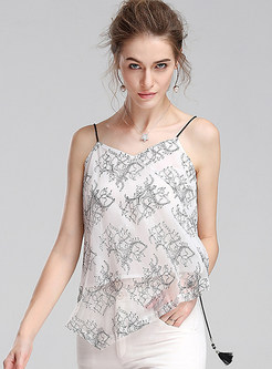 Sexy Print Backless Asymmetrical Sleeveless Camis