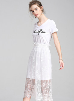 Street Print Lace Splicing V-neck T-shirt Dress