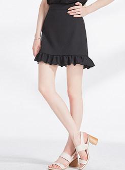 Elegant Pure Color Splicing A-line Sheath Skirt