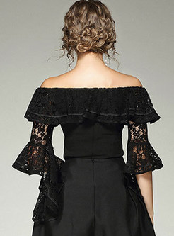 Sexy Hollow-out Slash Collar Flare Sleeve Lace Blouse