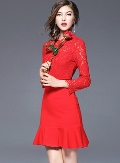Party Lace Splicing Hollow-out Mermaid Slim Skater Dress