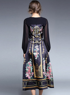 Party Print Perspective O-neck Long Sleeve Slim Maxi Dress