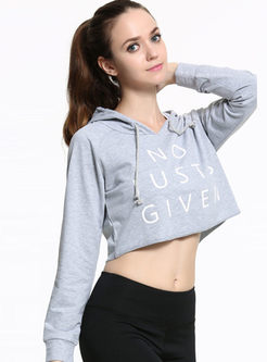 Letter Print Loose Long Sleeve Yoga Hoodies