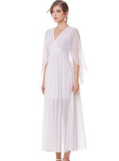 Casual Pure Color Slit V-neck Batwing Sleeve Slim Maxi Dress