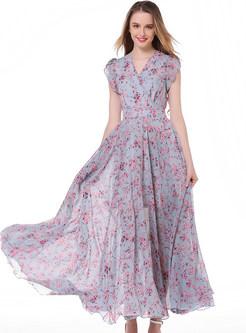 Dresses Maxi Dresses Casual Floral Print V Neck Short Sleeve