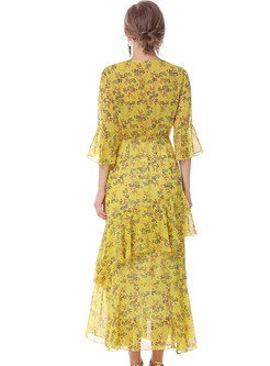Casual Floral Print Asymmetrical V-neck Flare Sleeve Maxi Dress