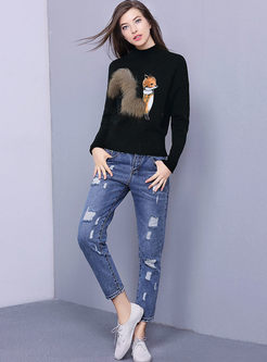 Cartoon Fox Design Long Sleeve Knitted Sweater
