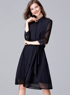 Blue Mesh Turn Down Collar Three Quarters Sleeve Skater Dress